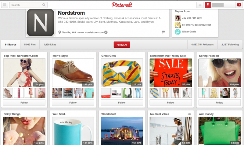 大手百貨店NordstromのPinterest公式ページ