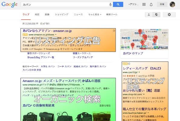 Googleにて「カバン」を検索した結果